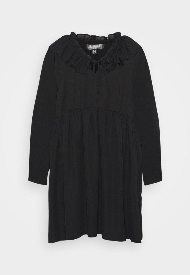 FRILL NECK LONG SLEEVE SMOCK DRESS - Denní šaty - black