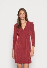 Closet - V NECK DRESS - Jersey dress - burgandy - 0