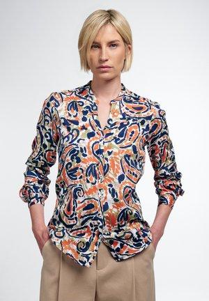 MODERN CLASSIC  - Button-down blouse - dunkelblau/orange