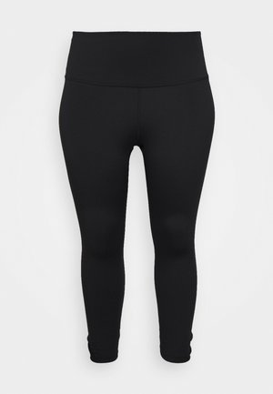 YOGA RUCHE 7/8 TIGHT PLUS - Pantalón 3/4 de deporte - black/dark smoke grey