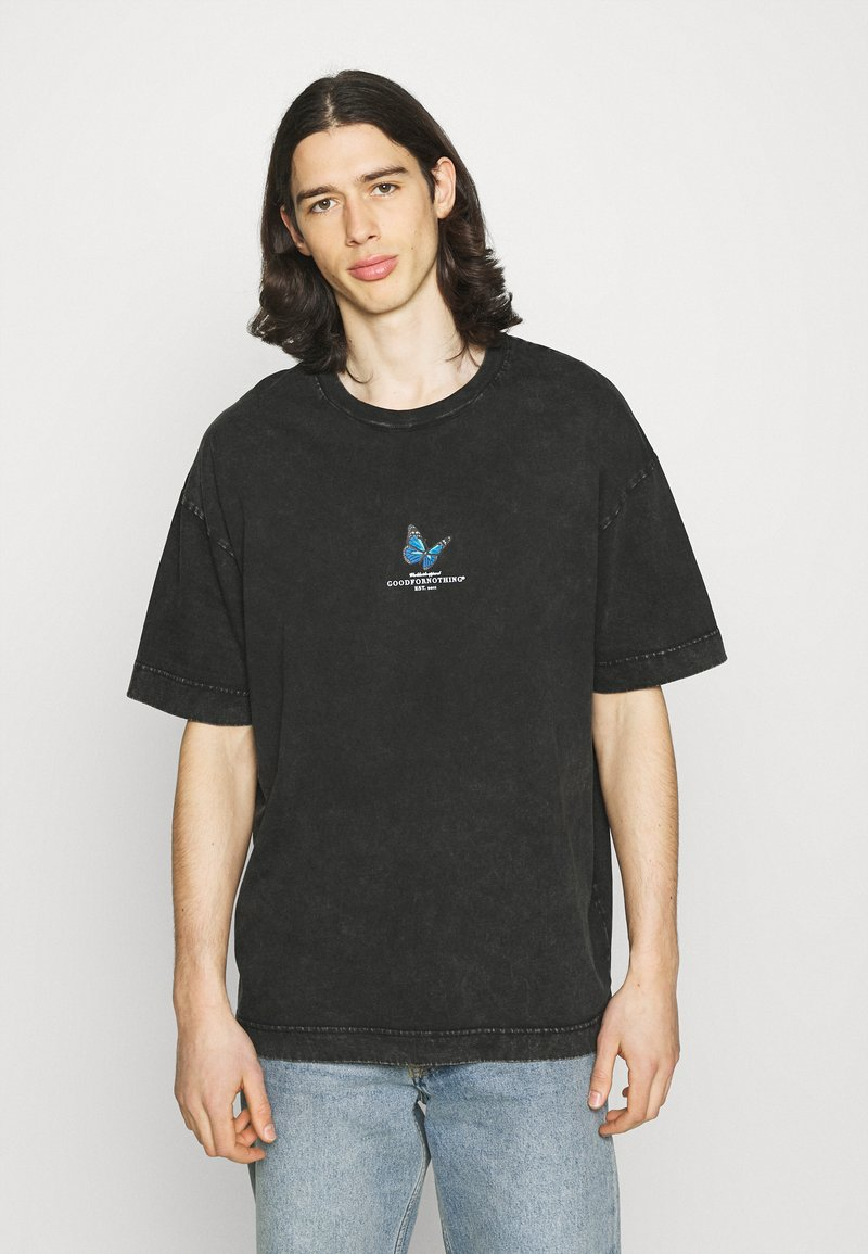 Good For Nothing - ACID WASH WITH SMALL BUTTERFLY - T-shirt con stampa - grey