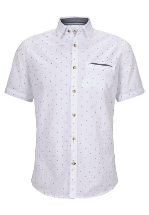 Shirt - white navy scattered design