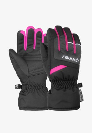 BENNET - Gloves - blck/blck melang/pink glo
