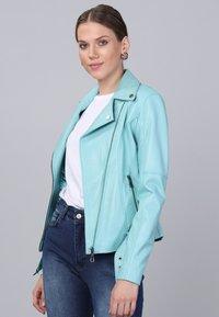 Basics and More - Leather jacket - mint - 2