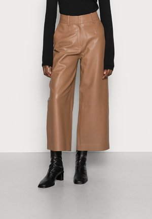 LILA - Leather trousers - hazelnut