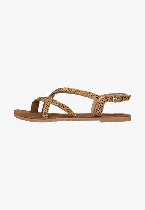 MIT GEKREUZTEN RIEMCHEN UND GEPARDENMUSTER - T-bar sandals - beige