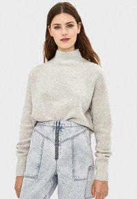 Bershka - Stickad tröja - light grey - 0