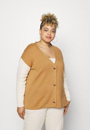 CARDIGAN WITH BUTTON PLACKET - Vest - soft caramel