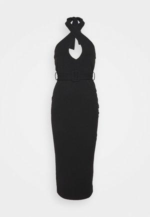 CROSS FRONT BELTED MIDI DRESS - Vestido ligero - black