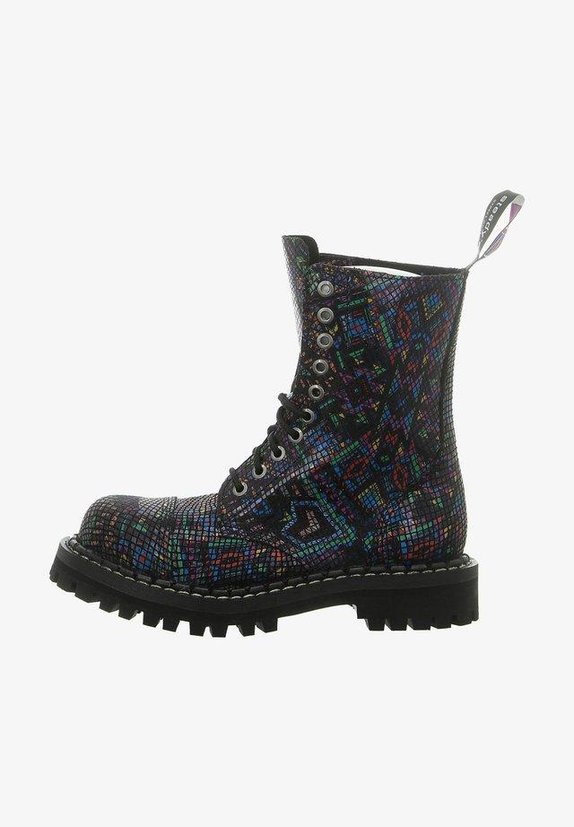 Cowboy/biker ankle boot - multi-coloured
