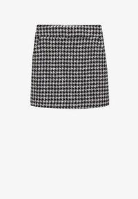 Mango - KOHOPINTAINEN GINGHAM-KUVIOINEN - Mini skirt - black - 5