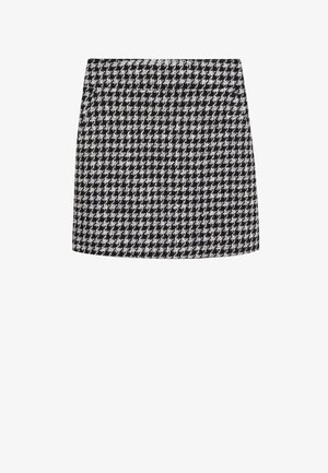 KOHOPINTAINEN GINGHAM-KUVIOINEN - Mini skirt - black
