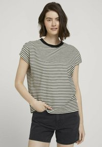 TOM TAILOR DENIM - WITH CONTRAST NECK - Print T-shirt - white - 0