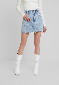 Abercrombie & Fitch - MINI SKIRT - A-line skirt - blue - 0