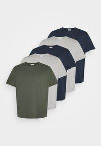 Pier One - 5 PACK - Basic T-shirt - khaki/grey/dark blue - 4