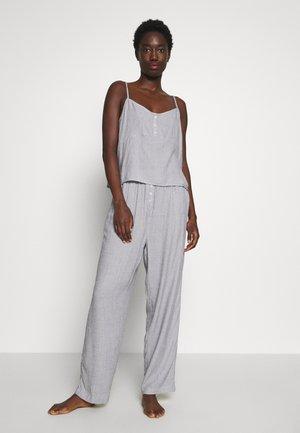 STRIPE BUTTON DETAIL CAMI SET - Pyjamas - navy/white