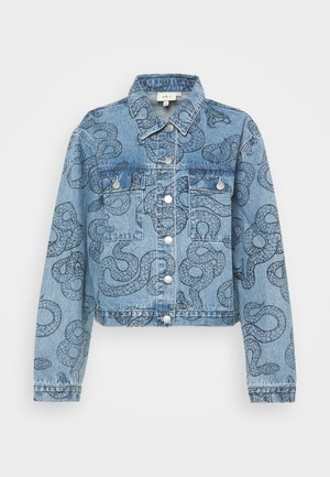 ALL OVER SNAKE PRINTED JACKET - Farkkutakki - light blue