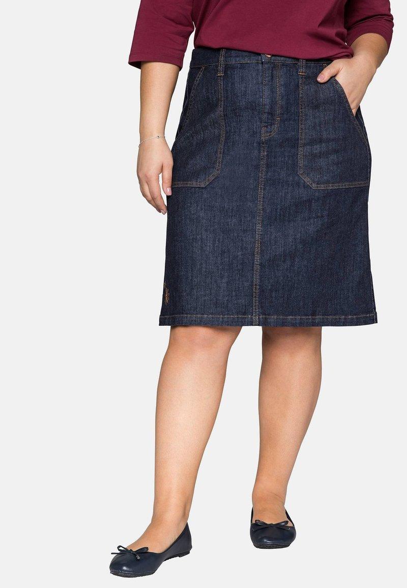 Sheego - Denim skirt - dark blue denim