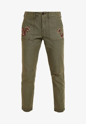 EMBROIDERY - Trousers - olive