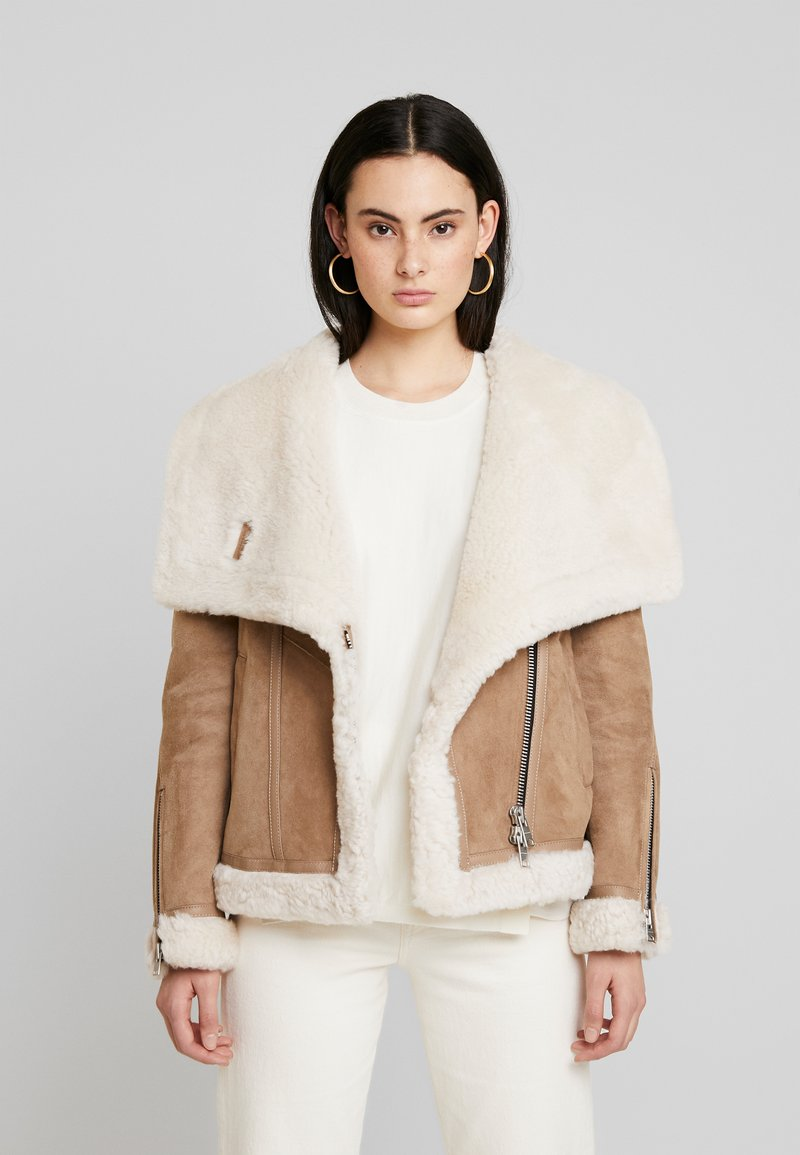 AllSaints - HARLOW SHEARLING - Leather jacket - toffee/ecru white