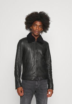 RANDOM COLLAR - Kožená bunda - black