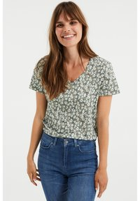 WE Fashion - MET BLOEMENDESSIN - Print T-shirt - green - 0