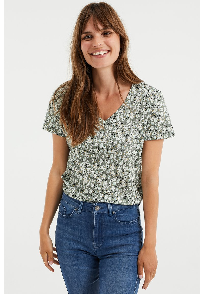 WE Fashion - MET BLOEMENDESSIN - Print T-shirt - green