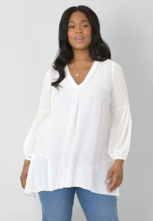 IVORY DOBBY HI LO  - Tunic - off-white