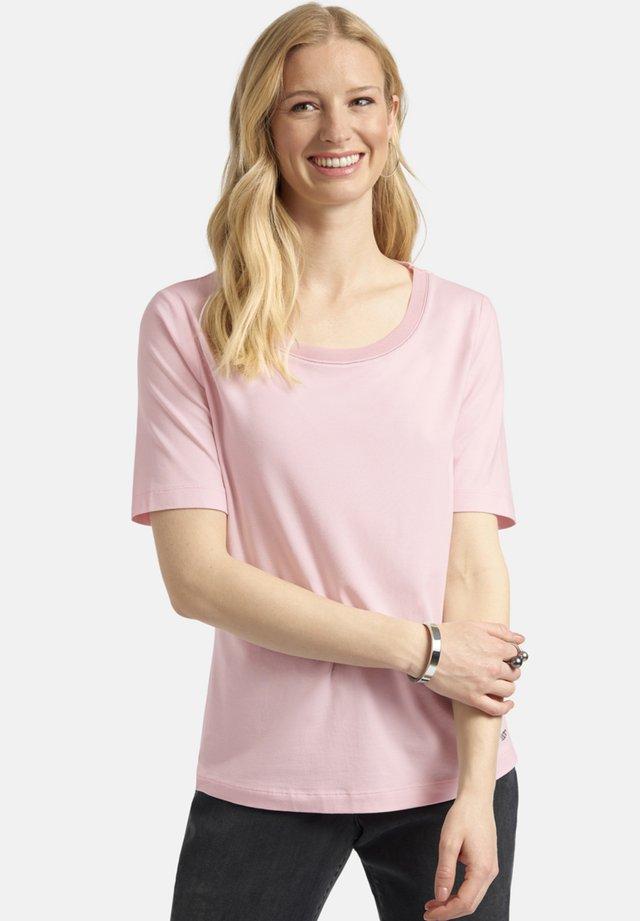 MIT WEITEM RUNDHALS UND ZIERPERLEN - Basic T-shirt - rosa