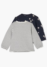 s.Oliver - 2ER PACK - Long sleeved top - blue daisies/offwhite stripes - 1