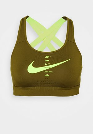 IMPACT STRAPPY BRA - High support sports bra - olive flak/volt