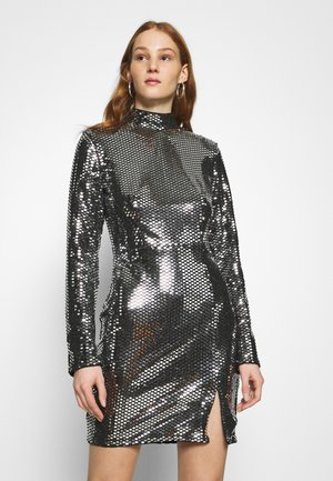 FOIL SEQUIN HIGH NECK MINI DRESS - Cocktail dress / Party dress - black