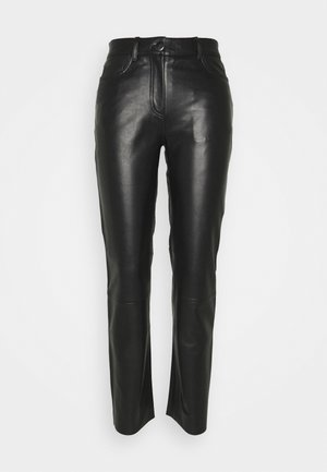 GRETA TROUSERS - Leather trousers - black