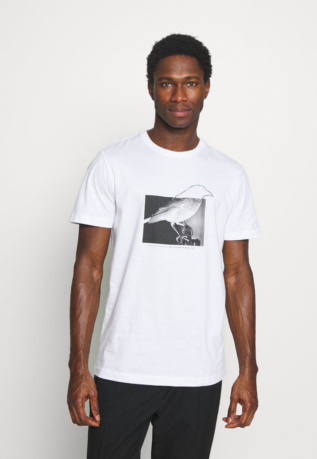 SLHREGTOMMY O NECK TEE - Print T-shirt - bright white