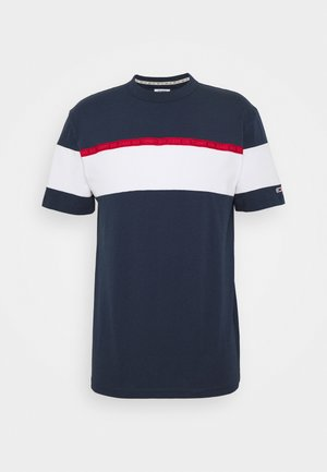 BOLD STRIPE TAPE TEE - T-shirt z nadrukiem - twilight navy / multicolor