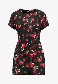Missguided Petite - FLORAL BUTTON FRONT MINI DRESS - Day dress - black - 5