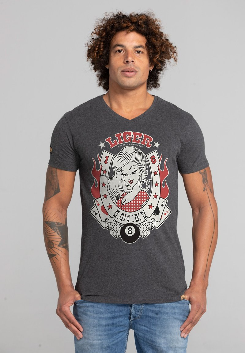 Liger - LIMITED TO 360 PIECES - CLAUDIA HEK - LUCKY - Print T-shirt - heather grey