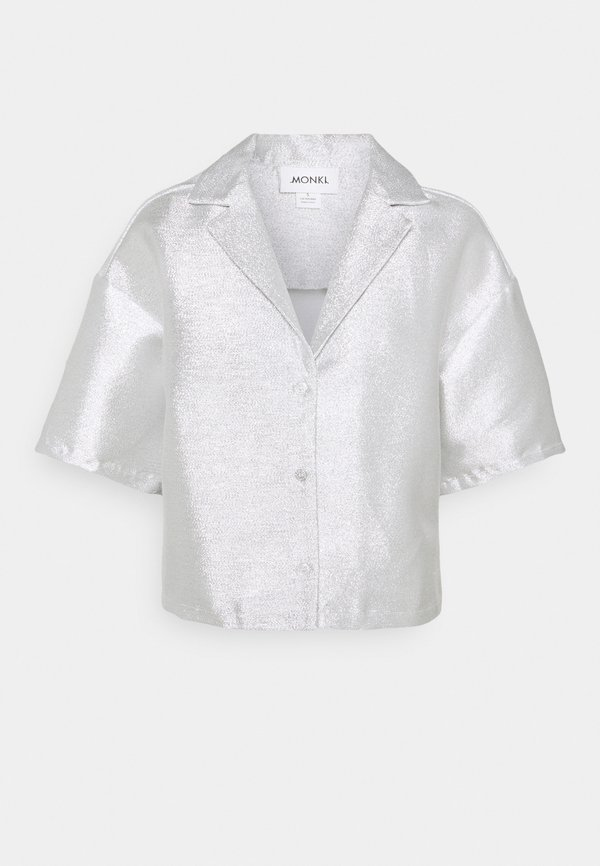 Monki FANNY BLOUSE - Koszula - silver/srebrny QSJP