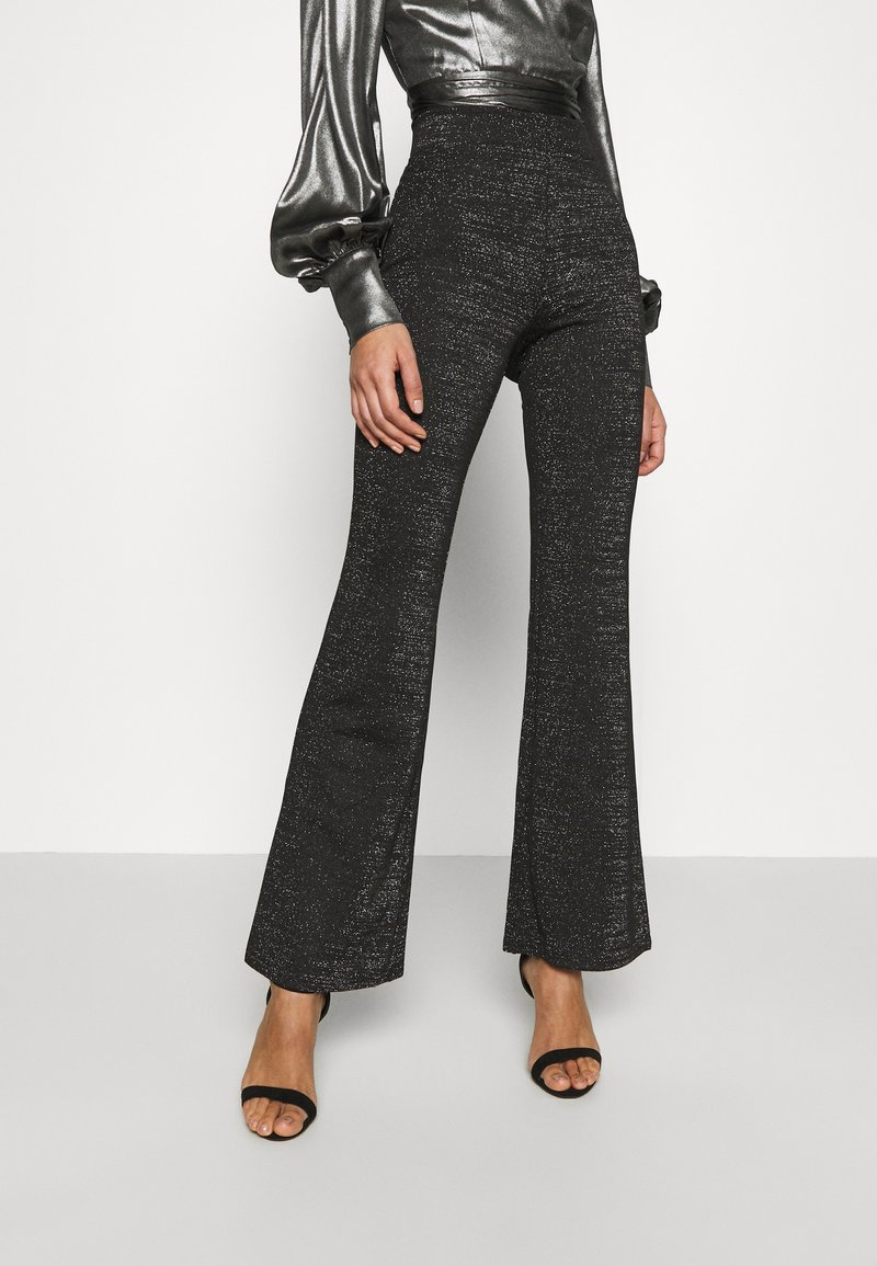 ONLY - ONLPAIGE FLARED GLITTER PANT - Trousers - black