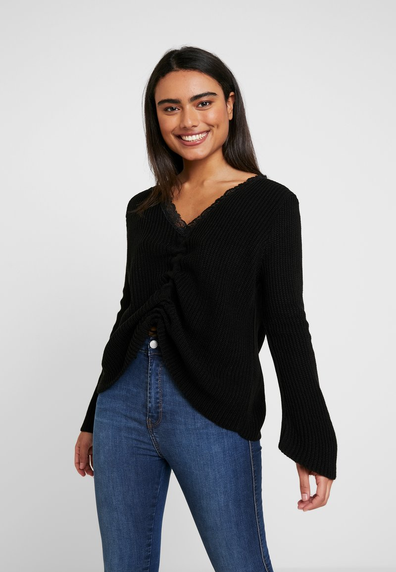 Missguided Petite - RUCHED FRONT JUMPER - Maglione - black