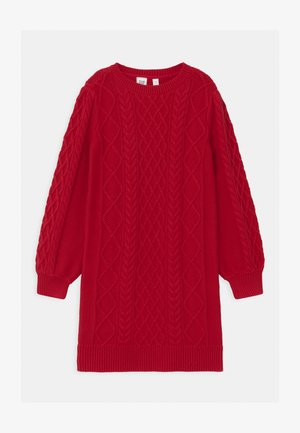GIRL CABLE - Gebreide jurk - modern red