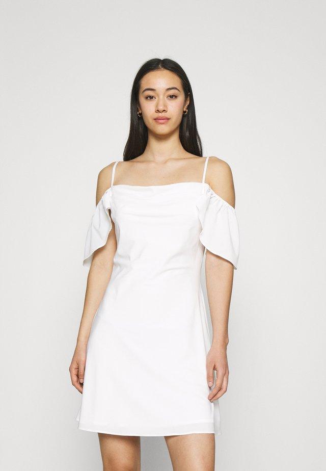 COWL NECK MINI DRESS - Day dress - white