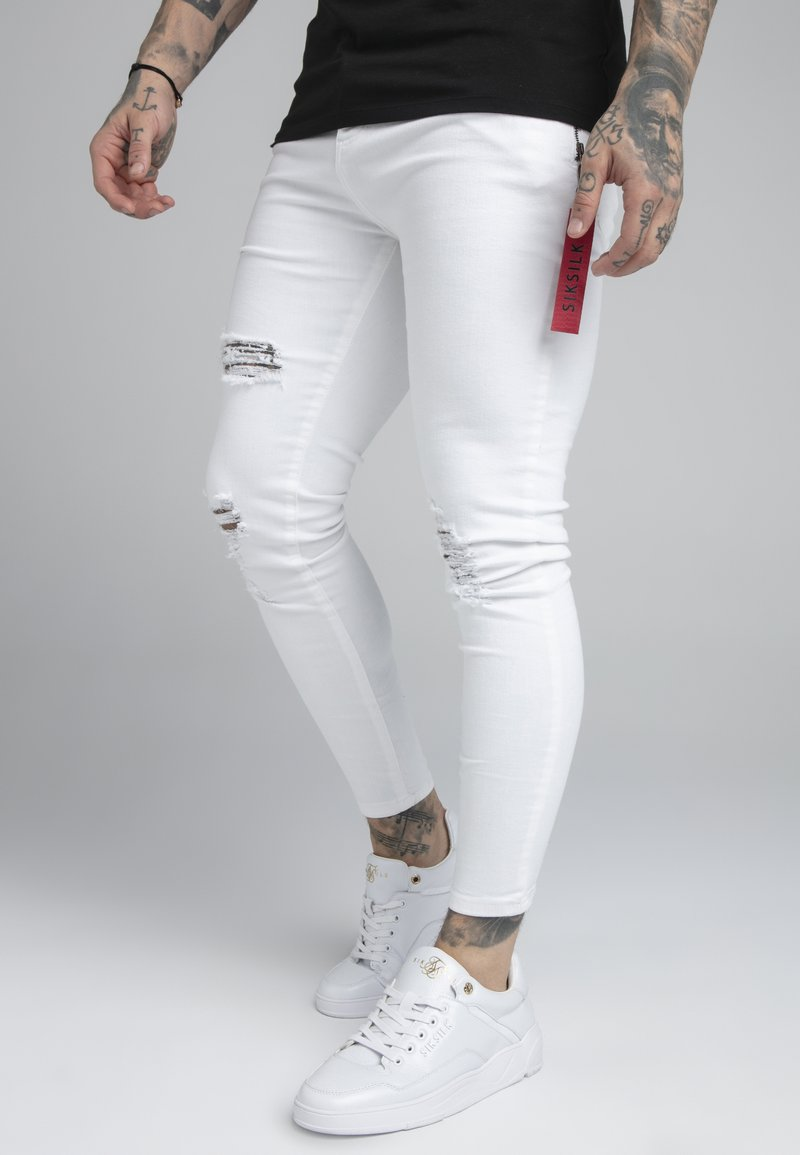 SIKSILK - DISTRESSED FLIGHT - Jeans Skinny Fit - white