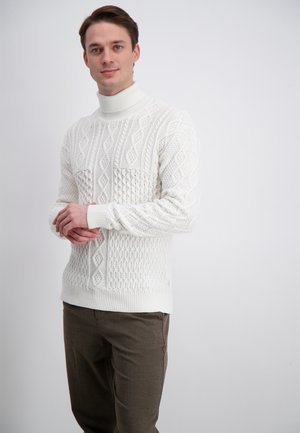 PATCHWORK ROLL NECK - Stickad tröja - off white