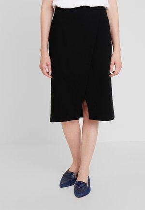 PENCIL SKIRT SHAPE - Wrap skirt - pure black