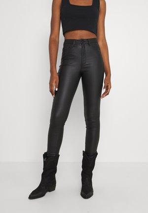 OBJBELLE COATED PANTS - Bukse - black