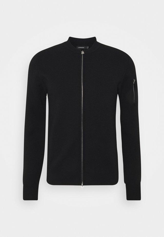 LANDON ZIP CARDIGAN - Vest - black