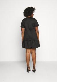 Simply Be - PONTE TSHIRT DRESS - Day dress - black - 2
