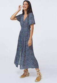 OYSHO - LONG LILAC FLORAL - Korte jurk - dark blue - 0