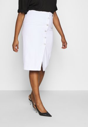 BUTTON DETAIL SKIRT - Spódnica ołówkowa  - off white